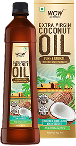 WOW Life Science Cold Pressed Extra Virgin Coconut Oil - Pure & Natural Enriching & Nourishing Oil Bottle, 400 ml